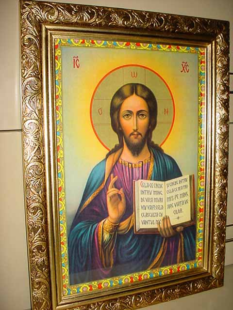 85 jesus the teacher copy of antique russian icon in real wooden gold leaf frame measures 19 12 x 14